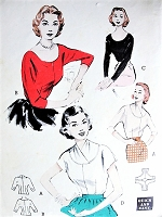 1950s QUICK n EASY Blouse Pattern BUTTERICK 6620 Four Fabulous Style Versions, Day or Evening Bust 32 Vintage Sewing Pattern
