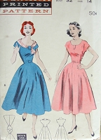1950s ROCKABILLY Dress Pattern BUTTERICK 6625 Quick n Easy Scoop Necked Casual Dress Two Styles Bust 32 Vintage Sewing Pattern