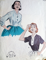 1950s PERKY Blouse pattern BUTTERICK 6783 Two Style Versions,Flattering Design Bust 36 Vintage Sewing Pattern
