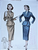 1950s HIGH FASHION Fitted Suit Butterick 6817 Bust 34 Vintage Sewing Pattern