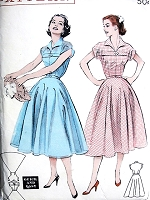 1950s ROCKABILLY Full Skirt Dress Pattern BUTTERICK 6934 Quick n Easy You Can Make It In A Day, Perky Collar and wing Cuffs Bust 34 Vintage Sewing Pattern