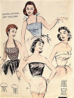 1950s BOMBSHELL Blouse Pattern BUTTERICK 6956 Sizzling Hot Styles Halter, Camisole and Strapless, Bust 32 Quick and EASY Vintage Sewing Pattern