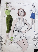 1950s Vintage FLIRTY Halter Top Romper and Pants Butterick 6971 Sewing Pattern Bust 34