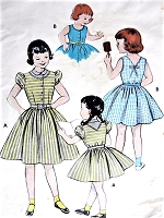 1950s ADORABLE Little Girls Dress Pattern BUTTERICK 7002 Puff Sleeve or SunDress Versions Size 6 Childrens Vintage Sewing Pattern