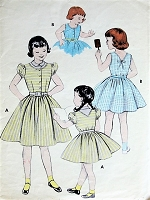 1950s CUTE Girls Whirly Skirt Dress Elastic Back Waist Pattern BUTTERICK 7002 Two Sweet Styles Size 6 Vintage Childrens Sewing Pattern