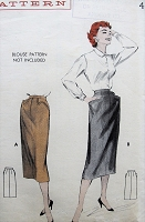 1950s FAB Tailored Skirt Pattern BUTTERICK 7080  Slim Pencil Skirt with Hip Pocket detail Waist 24 Vintage Sewing Pattern