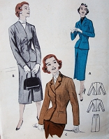 1950s SLEEK Business Suit Pattern BUTTERICK 7118 Tailored Suit Cardigan or Lapel Jacket Slim Skirt Suit Bust 30 Vintage Sewing Pattern