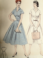 1950s ROCKABILLY Midriff Dress Pattern BUTTERICK 7272 Flattering Wing Collar Full Skirt Dress Bust 30 Vintage Sewing Pattern