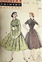 1950s PRETTY Midriff Day or Party Dress Pattern BUTTERICK 7276 Lovely Pin Tucked Bodice Bust 30 Vintage Sewing Pattern FACTORY FOLDED
