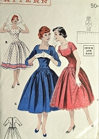 1950s PRETTY Dress Pattern BUTTERICK 7376 Full Skirted Square Neckline Dress Day or Party Bust 32 Vintage Sewing Pattern