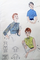 1950s Vintage PRETTY Blouse with Bow or High Neckline Butterick Sewing Pattern Bust 32