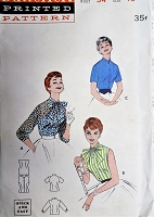1950s PRETTY Blouse Pattern BUTTERICK 7396 Three Blouses with Bow or High Neckline Bust 34 Vintage Sewing Pattern