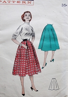 1950s FLIRTY Front Pleated Skirt Pattern BUTTERICK 7399 Casual Flared Skirt Waist 28 Vintage Sewing Pattern