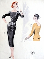 1950s SLEEK 2 Pc Dress Pattern BUTTERICK 7553 Slim Skirt With Beautifully Fitted Longer Overblouse, Square Neckline, Day or After 5, Bust 36 Vintage Sewing Pattern