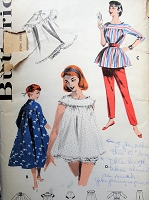 1950s Vintage STYLISH Lounge Wear and Nightgown with Panties and Robe Lingerie Butterick 7559 Sewing Pattern Bust 36