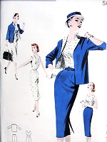 1950s CLASSY  Slim Dress, Jacket and Skirt Pattern Butterick 7581 Willowy Slim Sheath Dress, Box Jacket and Slim Skirt Bust 34 Vintage Sewing Pattern FACTORY FOLDED