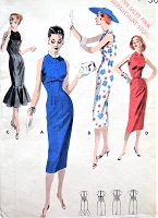 1950s STUNNING Princess Sheath Dress Pattern BUTTERICK 7749 Four Beautiful Styles Includes Wide Flounce At Hemline Version Day or Cocktail Evening Party Bust 30 Vintage Sewing Pattern FACTORY FOLDED