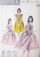 1950s  ROMANTIC Peignoir and Nightgown Lingerie Pattern BUTTERICK 7773 Dreamy Nightie in 2 Styles Full Robe in 2 Lengths Bust 32 Vintage Sewing Pattern FACTORY FOLDED