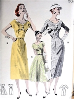 1950s CHIC Slim or Full Skirt Dress Pattern BUTTERICK 7787 Stunning Scooped Neckline Empire Bodice Effect, Sheath or Full Skirted Versions Bust 32 Vintage Sewing Pattern FACTORY FOLDED
