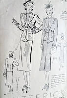 1930s CHIC Suit Pattern BUTTERICK 7812 Slim Skirt Fitted Jacket Suit Bust 32 Vintage Sewing Pattern