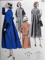 1950s FAB Buttoned Coat With Back Detailing Pattern BUTTERICK 7923 Three Stylish Versions, Slim Front Coats Slim or Swing Backs Bust 36 Vintage Sewing Pattern