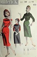 1950s FAB Slim Jumper Dress and Jacket Pattern BUTTERICK 7966 Flattering Empire Sheath Dress Shortie Jacket Bust 32 Vintage Sewing Pattern