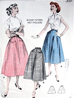 1950s EASY Semi Full Skirt Pattern BUTTERICK 8018 Pocket Detailing Figure Flattering Skirt Waist 28 Vintage Sewing Pattern