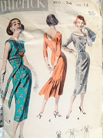 1950s STUNNING Slim Sheath Dress Pattern BUTTERICK 8040 Three Beautiful Versions Daytime or Evening Party Bust 34 Vintage Sewing Pattern
