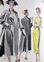 1950s LOVELY Sheath Dress and Slim Coat Pattern BUTTERICK 8048 Day or Evening Dress Sweetheart Neckline Bust 38 Vintage Sewing Pattern