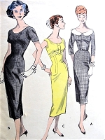 1950s BOMBSHELL Princess Sheath Dress Pattern BUTTERICK 8056  Three Fab Style Versions Daytime or Cocktail Party Bust 36 Vintage Sewing Pattern