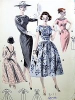1950s LOVELY Slim or Full Skirt Dress Pattern BUTTERICK 8083 Bateau Neckline Flattering Empire Bodice Bust 34 Vintage Sewing Pattern UNCUT
