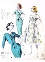 1950s GLAM Slim or Full Skirt Dress Pattern BUTTERICK 8116 Day or Evening Party Empire Draped Surplice Bodice Beautiful Design Bust  38 Vintage Sewing Pattern