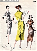 1950s FASHIONABLE Slim Dress Pattern BUTTERICK 8128 Stylish Bloused Back Three Versions Bust 36 Vintage Sewing Pattern