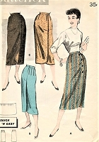 1950s CLASSY Slim Wrap Around Skirt Pattern BUTTERICK 8266 Quick n Easy Sleek Skirt in 3 Versions includes Reversible Version Waist 26 Vintage Sewing Pattern