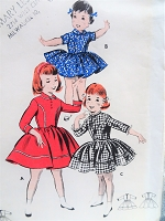 1950s SWEET Little Girls Dress Pattern BUTTERICK 8282 Three Cute Styles Size 6 Vintage Childrens Sewing Pattern