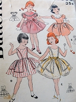 1950s ADORABLE Girls Dress Pattern BUTTERICK 8388 Four Sweet Versions Size 6 Childrens Vintage Sewing Pattern