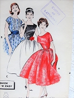 Vintage 1950s PRETTY Party Dress in Three Styles Butterick 8509 Sewing Pattern Bust 36