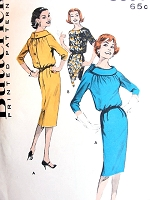 1960s LOVELY Slim Dress Pattern BUTTERICK 8699 Bust 32 Button Back Bloused Bodice, Standaway Cowl collar or Shallow Scoop Neck Bust 32 Vintage Sewing Pattern