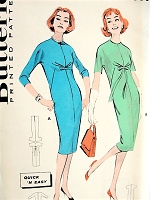 1950s STYLISH Empire Chemise Dress Pattern BUTTERICK 8732 Slim Shaped Chemise Dress, Jewel Neckline Bust 40 Quick n Easy Vintage Sewing Pattern FACTORY FOLDED