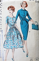 1950s STUNNING Slim or Full Skirt Dress Pattern BUTTERICK 8894 Wrapped Waistline, 2 Style Versions Bust 34 Vintage Sewing Pattern
