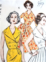 1960s CLASSY Slim or Full Skirt Dress Pattern BUTTERICK 9005 Flattering Wide Notched Collar, Waist Inset Bust 36 Vintage Sewing Pattern
