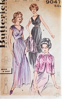 1950s GLAMOROUS Nightgown and Bedjacket Pattern BUTTERICK 9047 Lingerie Night Wear Plunging V Neckline Bombshell Nightgown Bust 32 Vintage Sewing Pattern FACTORY FOLDED
