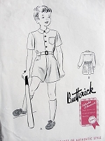 1940s CUTE Little Boys Shirt and Shorts Pattern BUTTERICK 9108  Very Dick n Jane Style Size 6 Childrens Vintage Sewing Pattern Factory Folded