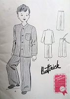 1940s Little Boys Pajamas Pattern BUTTERICK 9109 Cute Style Pajamas Size 4 Childrens Vintage Sewing Pattern FACTORY FOLDED