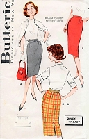 1960s SLEEK  Slim Skirt Pattern BUTTERICK 9188 Quick 'N Easy ONE YARD Skirt Mad Men Era Waist 26 Vintage Sewing Pattern