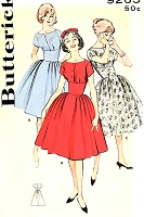 1960s Figure FLATTERING Dress Pattern BUTTERICK 9265 Rockabilly High Curved Midriff Full Skirt Three Lovely Necklines Scooped, Bateau and Surplice Bust 32 Vintage Sewing Pattern