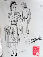 1940s PRETTY Dress Pattern BUTTERICK 9337 Lovely Draped Neckline Bust 36 Quick n Easy Vintage Sewing Pattern FACTORY FOLDED