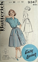 1950s CUTE Blouse and Back Wrap Around Skirt Pattern BUTTERICK 9347  Bust 31 Quick n Easy Vintage Sewing Pattern
