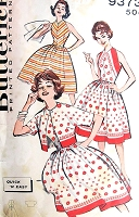 1950s Quick n Easy Sun Dress and Jacket Pattern BUTTERICK 9373 Flattering Full Skirt Fitted Bodice Halter Dress Great For Border Prints or stripes Bust 32 Vintage Sewing Pattern