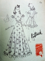 1940s BEAUTIFUL Girls Party Special Occasion Dress Pattern BUTTERICK 9378 Full Length or Regular Size 12 Quick n Easy Childrens Vintage Sewing Pattern